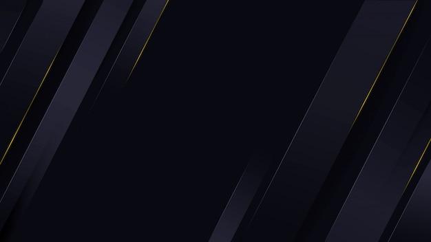 Donkerblauwe luxe achtergrond met lichtstroken en glinsterende goud. Premium Vector