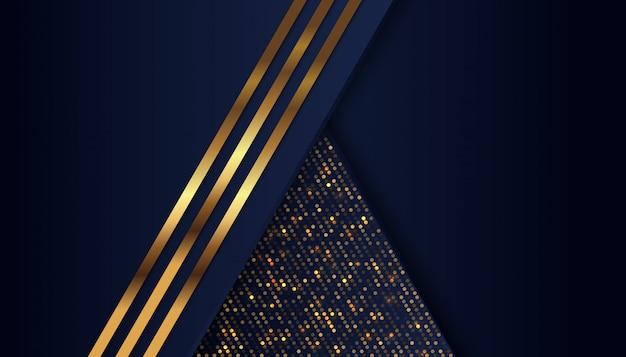 Donkerblauwe overlappingsachtergrond met gouden lichte lijn Premium Vector