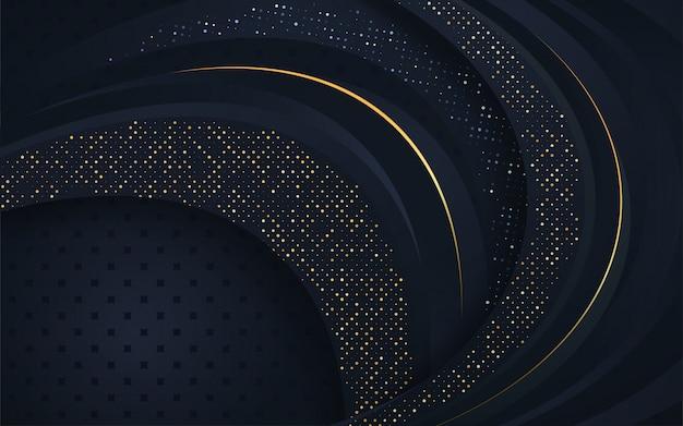 Donkerblauwe overlappingslagen met zilveren glittersachtergrond Premium Vector