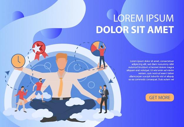 Donkerblauwe poster met zakenman en verschillende activiteiten Gratis Vector