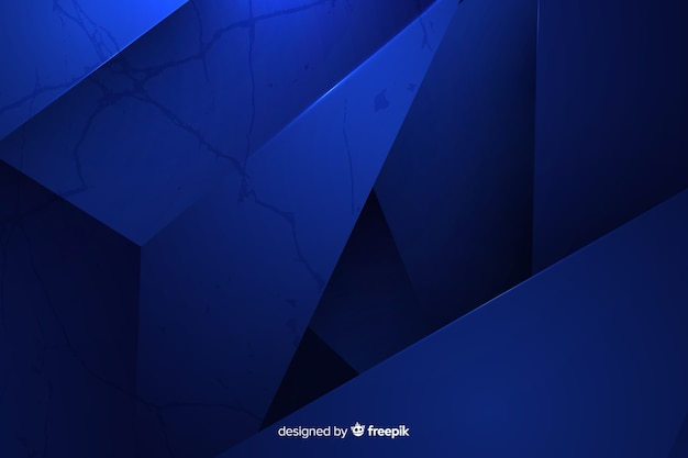 Donkerblauwe veelhoekige achtergrond Gratis Vector
