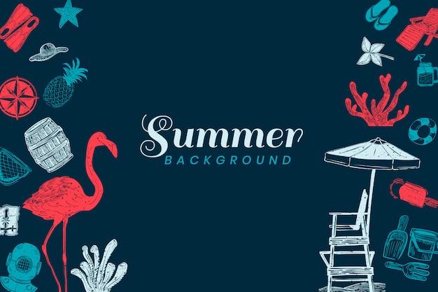 Donkerblauwe zomer achtergrond Gratis Vector