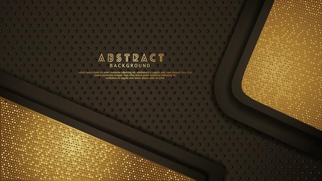 Donkerbruine overlappende lagenachtergrond met gouden effect schittert. Premium Vector
