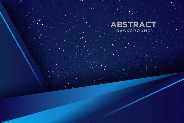 Donkere abstracte achtergrond met blauwe overlappende lagen. achtergrond overlappende laag met glitters. Premium Vector