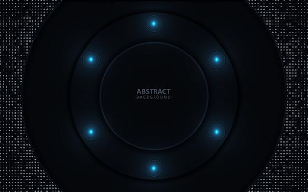 Donkere abstracte achtergrond met cirkel overlappende lagen Premium Vector