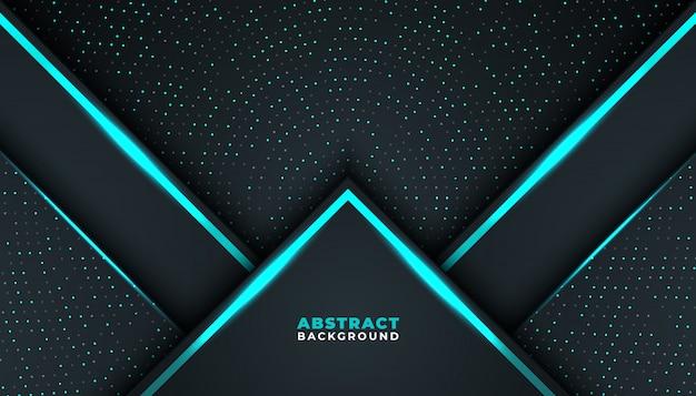 Donkere abstracte achtergrond met donkerblauwe overlappende lagen Premium Vector