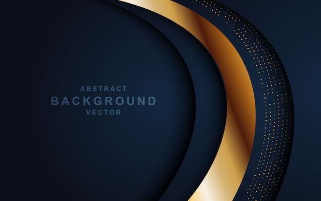 Donkere abstracte achtergrond met overlappende lagen en glitters. textuur met gouden effect elementdecoratie Premium Vector