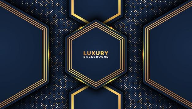 Donkere abstracte achtergrond met overlappende lagen. luxe ontwerpconcept. gouden glitters stippen element decoratie. luxe ontwerpconcept. Premium Vector