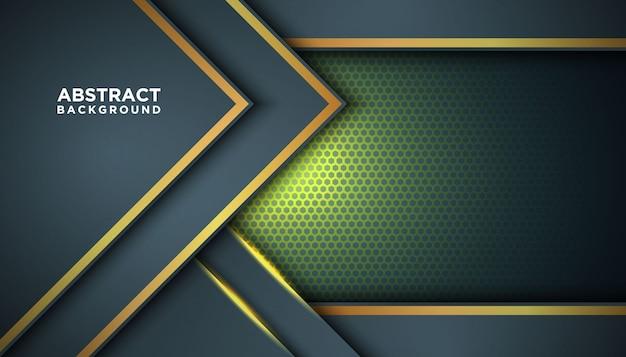 Donkere abstracte achtergrond met overlappende lagen. textuur met gouden effect elementendecoratie. luxe ontwerpconcept. Premium Vector