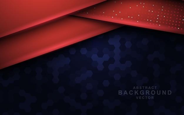 Donkere abstracte achtergrond met rode overlappende lagen Premium Vector