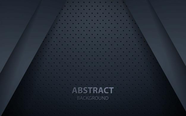 Donkere abstracte achtergrond met zwarte overlappingslagen Premium Vector