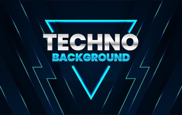 Donkere achtergrond met blauw technoconcept van de lijnensamenstelling Premium Vector
