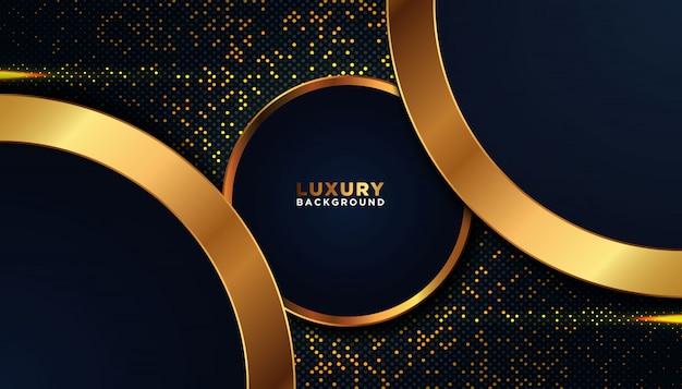 Donkere achtergrond met gouden abstracte vormen Premium Vector