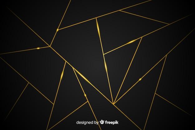 Donkere achtergrond met gouden lijnen Gratis Vector