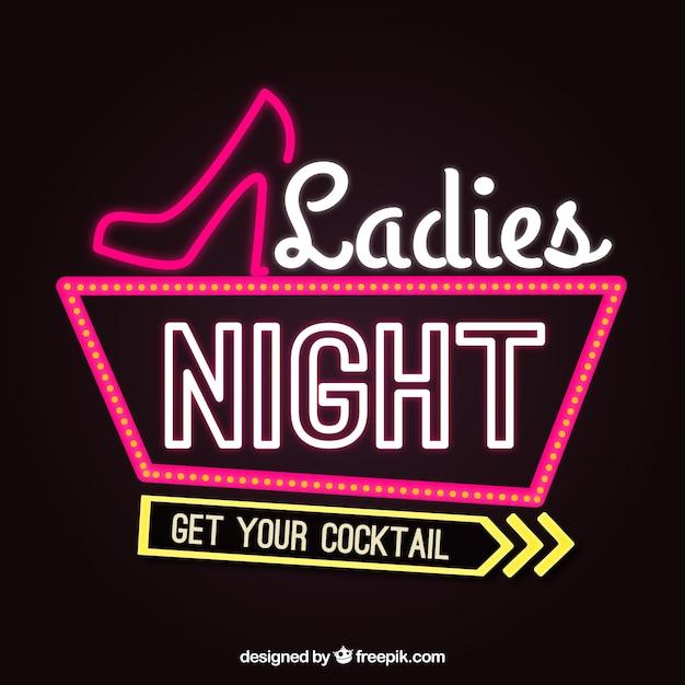 Donkere achtergrond met neon teken voor de ladies night ...