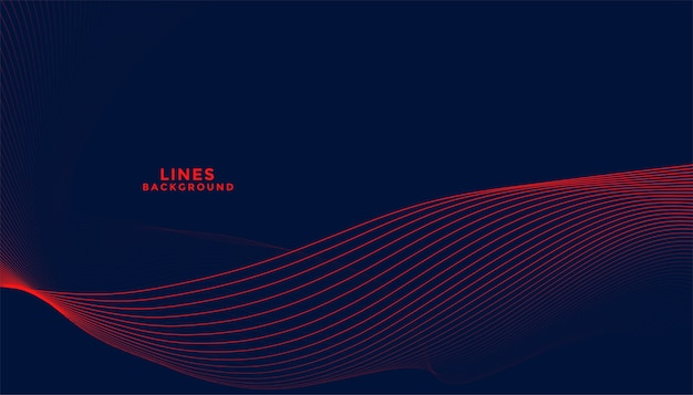 Donkere achtergrond met rood vloeiend golvend lijnenontwerp Gratis Vector
