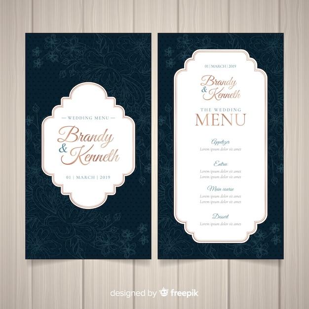 Donkere bruiloft menusjabloon Gratis Vector
