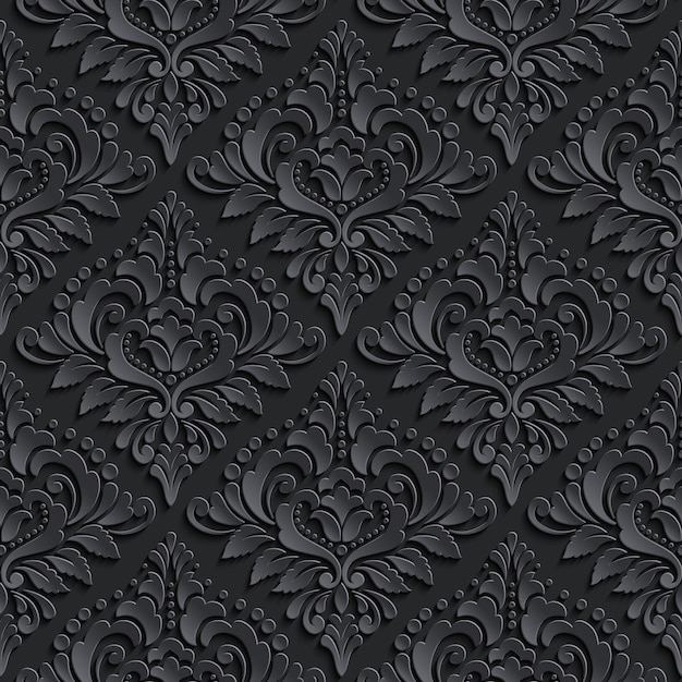 Donkere damask naadloze patroon achtergrond. elegante luxetextuur voor behang Gratis Vector
