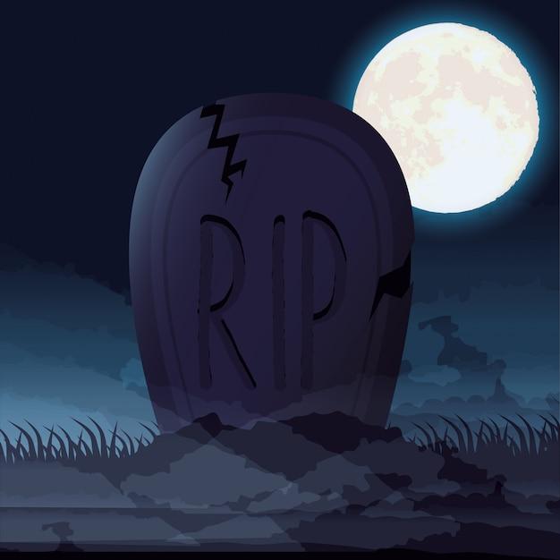 Donkere de nachtscène van halloween met begraafplaatskerkhof Gratis Vector