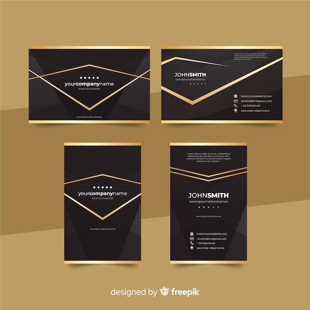 Donkere elegante visitekaartje sjabloon collectie Gratis Vector