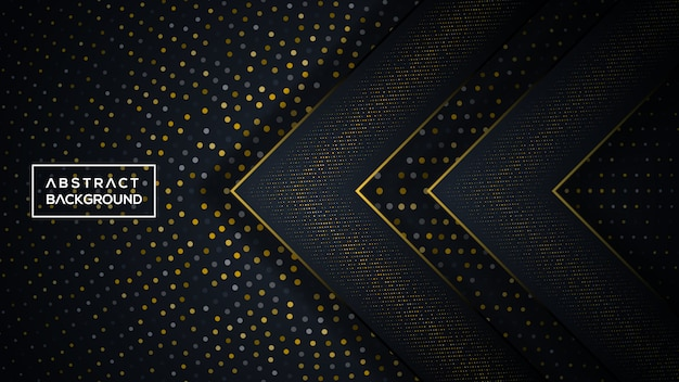 Donkere en gouden driedimensionale achtergrond Premium Vector