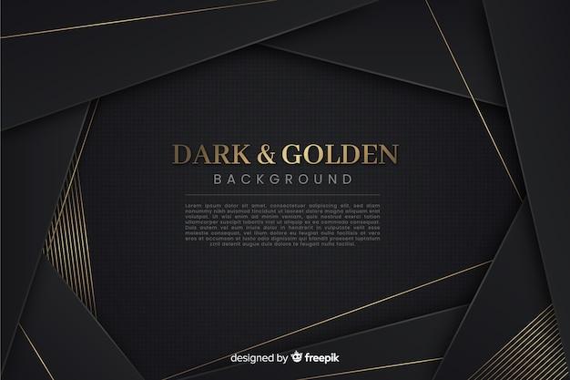 Donkere en gouden veelhoekige achtergrond Gratis Vector