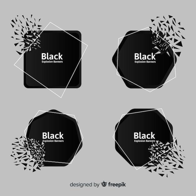 Donkere explosiebanner collectie Gratis Vector