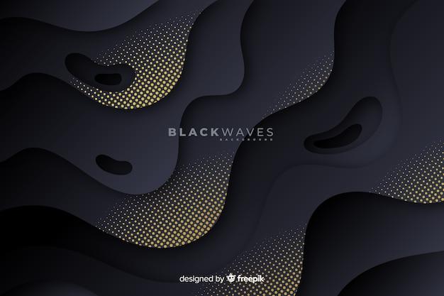 Donkere golvenachtergrond met halftone effect Gratis Vector