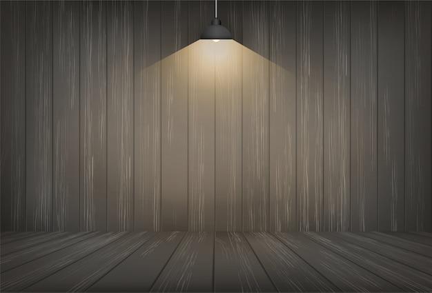 Donkere houten ruimte achtergrond en gloeilamp. Premium Vector
