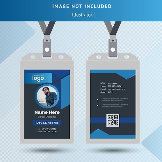 Donkere identiteitskaart sjabloon Premium Vector