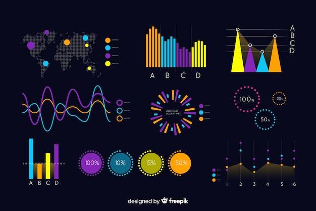 Donkere infographic sjabloon met kaart Gratis Vector