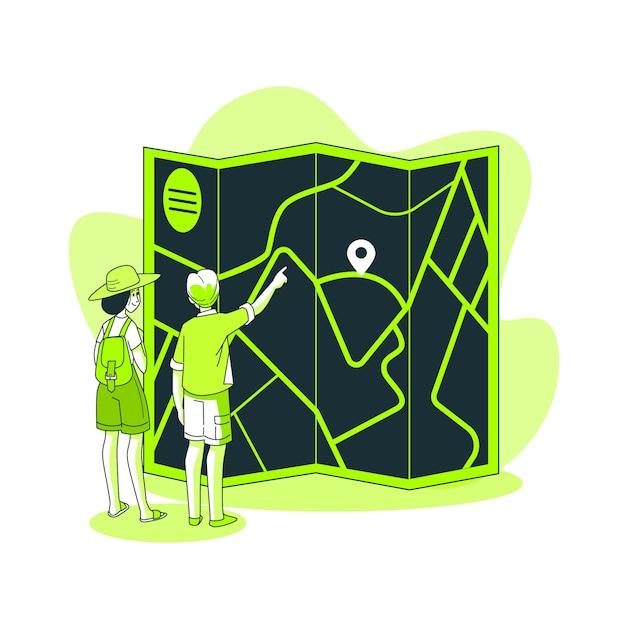 Donkere kaart concept illustratie Gratis Vector