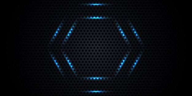 Donkere koolstofvezeltextuur met neonhoningraat. Premium Vector
