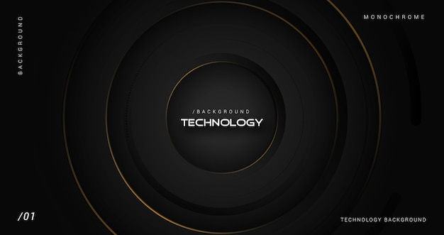 Donkere luxe 3d-technologie achtergrond Premium Vector