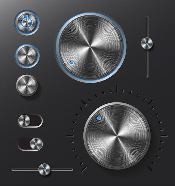 Donkere metalen knoppen en draaiknoppen ingesteld. Premium Vector