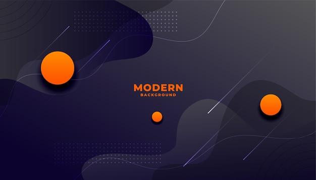 Donkere moderne vloeiende stijlachtergrond met oranje cirkels Gratis Vector