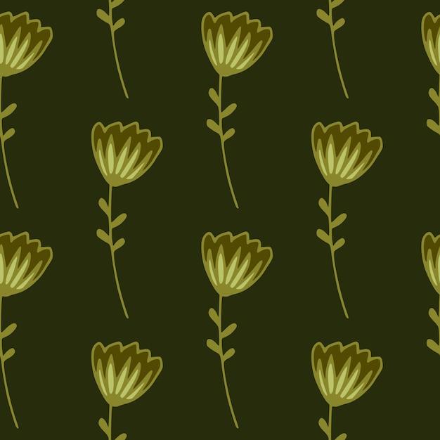 Donkere naadloze bloemmotief met voorgevormde abstracte bloemen Premium Vector