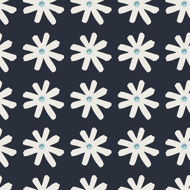 Donkere naadloze doodle patroon met witte margriet geometrische silhouetten. gestileerde eenvoudige print. perfect voor behang, inpakpapier, textieldruk, stof. illustratie. Premium Vector