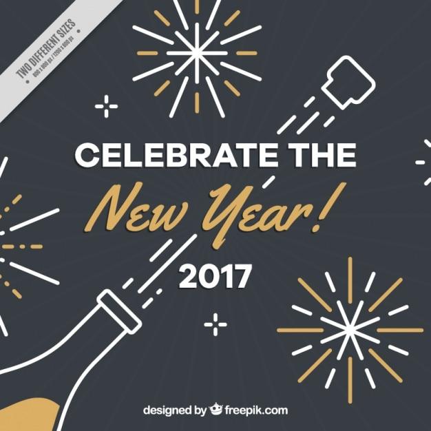 Donkere nieuwe jaar achtergrond met champagne fles en gouden details Gratis Vector