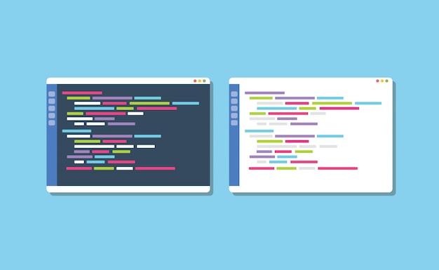 Donkere of witte teksteditor voor themaprogrammering vergelijken Premium Vector