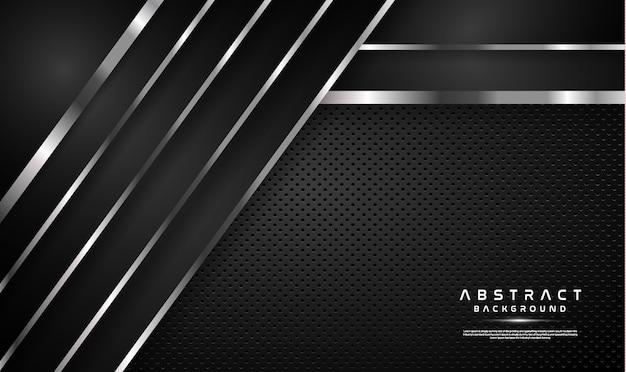 Donkere overlapping zwarte achtergrond met zilveren lijn Premium Vector