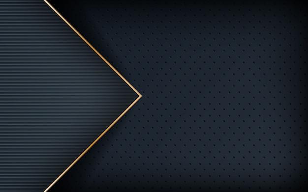 Donkere realistische gouden lijn en gestructureerde achtergrond Premium Vector