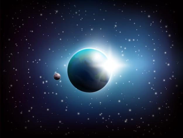 Donkere ruimteachtergrond Gratis Vector