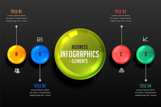 Donkere thema infographics stappen sjabloon Gratis Vector