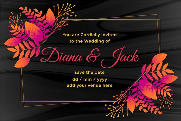 Donkere trouwkaart met bloemdecoratie Gratis Vector