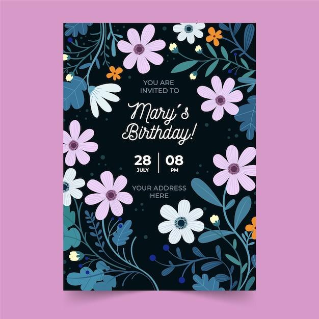 Donkere verjaardag uitnodiging sjabloon met bloemen Gratis Vector