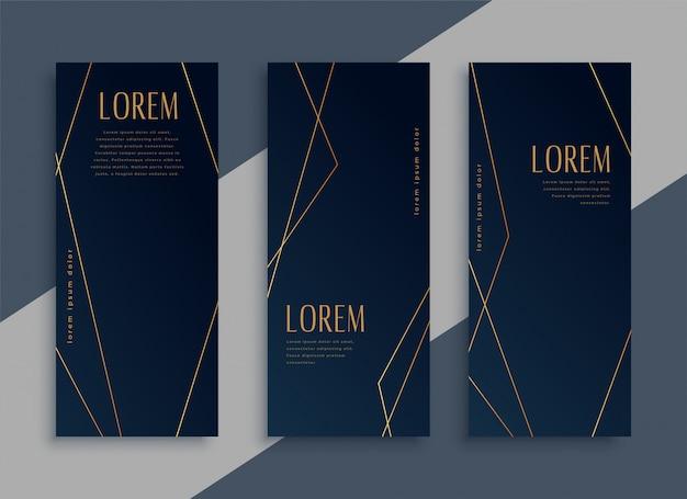 Donkere verticale banners instellen met gouden geometrische lijnen Gratis Vector