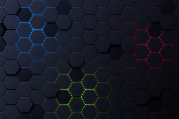Donkere zeshoekige achtergrond met kleurverloop Gratis Vector
