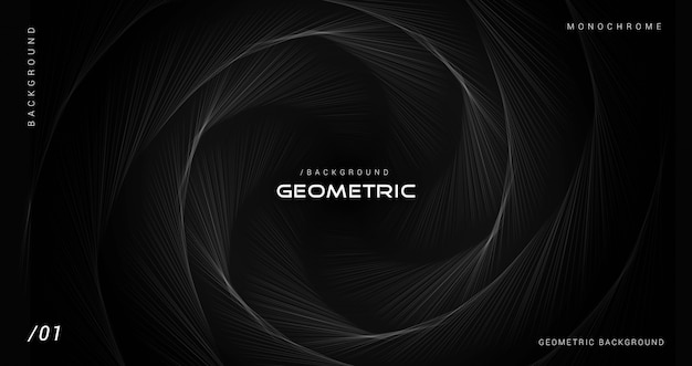 Donkere zwart-wit geometrische lijnenachtergrond Premium Vector