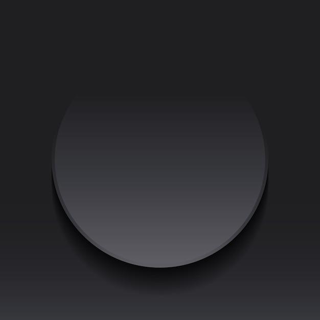 Donkergrijze cirkel ronde notitie label papierstijl knippen Premium Vector